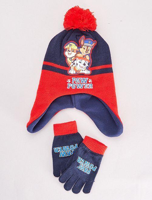 Ensemble bonnet et gants 'Pat'Patrouille'                                         rouge