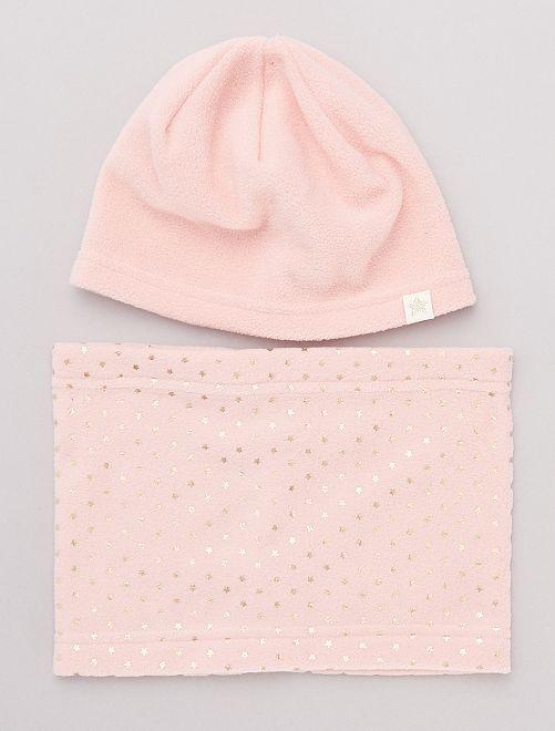 Ensemble bonnet et snood en polaire                                         rose
