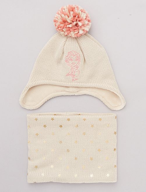 Ensemble bonnet et snood 'La Reine des Neiges'                             beige