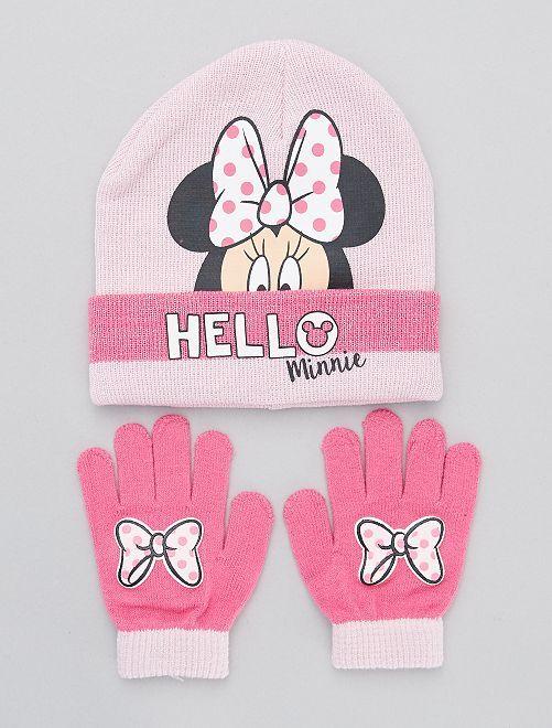 Ensemble bonnet + gants luminescents 'Minnie'                             rose
