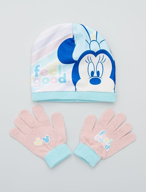 Ensemble bonnet + gants 'Minnie' de 'Disney'                             rose/bleu
