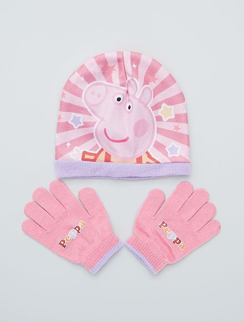 Ensemble bonnet + gants 'Peppa Pig'                             rose