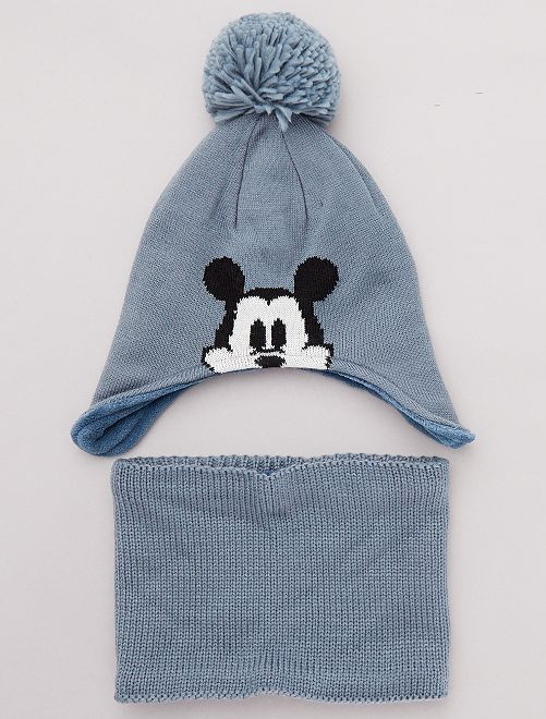 Ensemble bonnet + snood 'Mickey'                             bleu gris