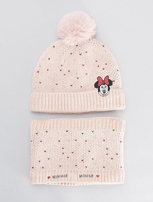 Ensemble bonnet + snood 'Minnie'                             rose