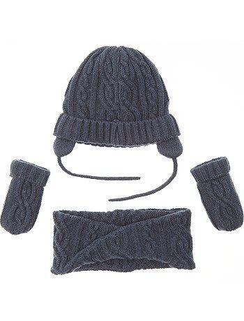 Ensemble bonnet + snood + moufles - Kiabi