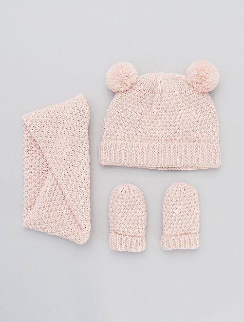 Ensemble bonnet + snood + moufles                             rose