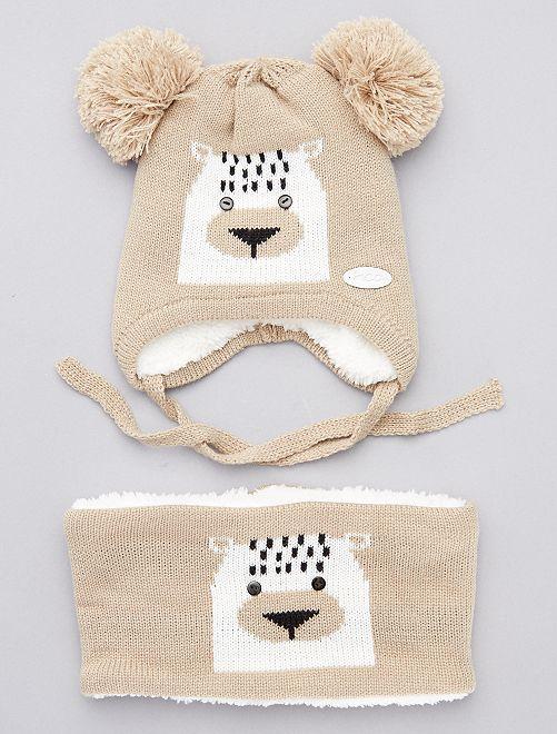 Ensemble bonnet + snood 'ourson'                             beige