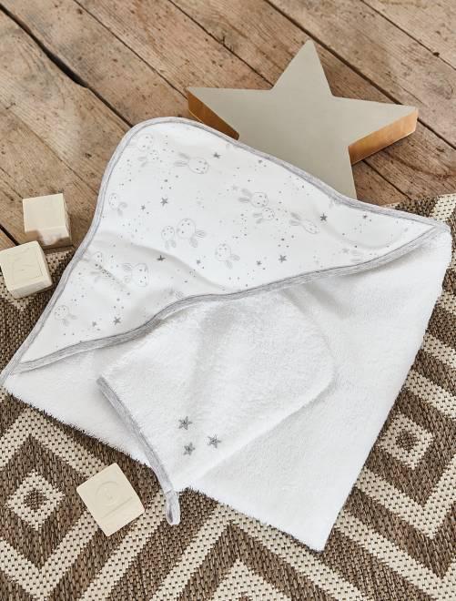 ensemble cape de bain et gant assorti b b fille blanc. Black Bedroom Furniture Sets. Home Design Ideas