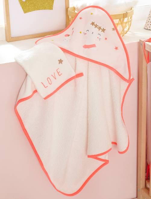 Ensemble cape de bain et gant assorti 'Fées'                             rose pâle Bébé fille