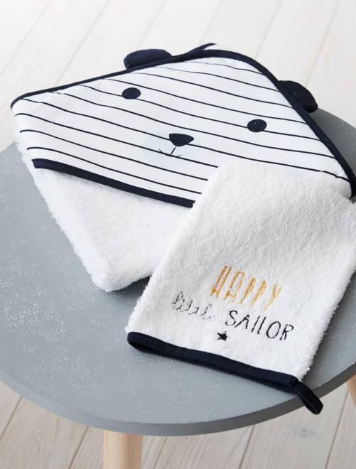 Ensemble cape de bain et gant assorti 'Panda'                             blanc Bébé garçon