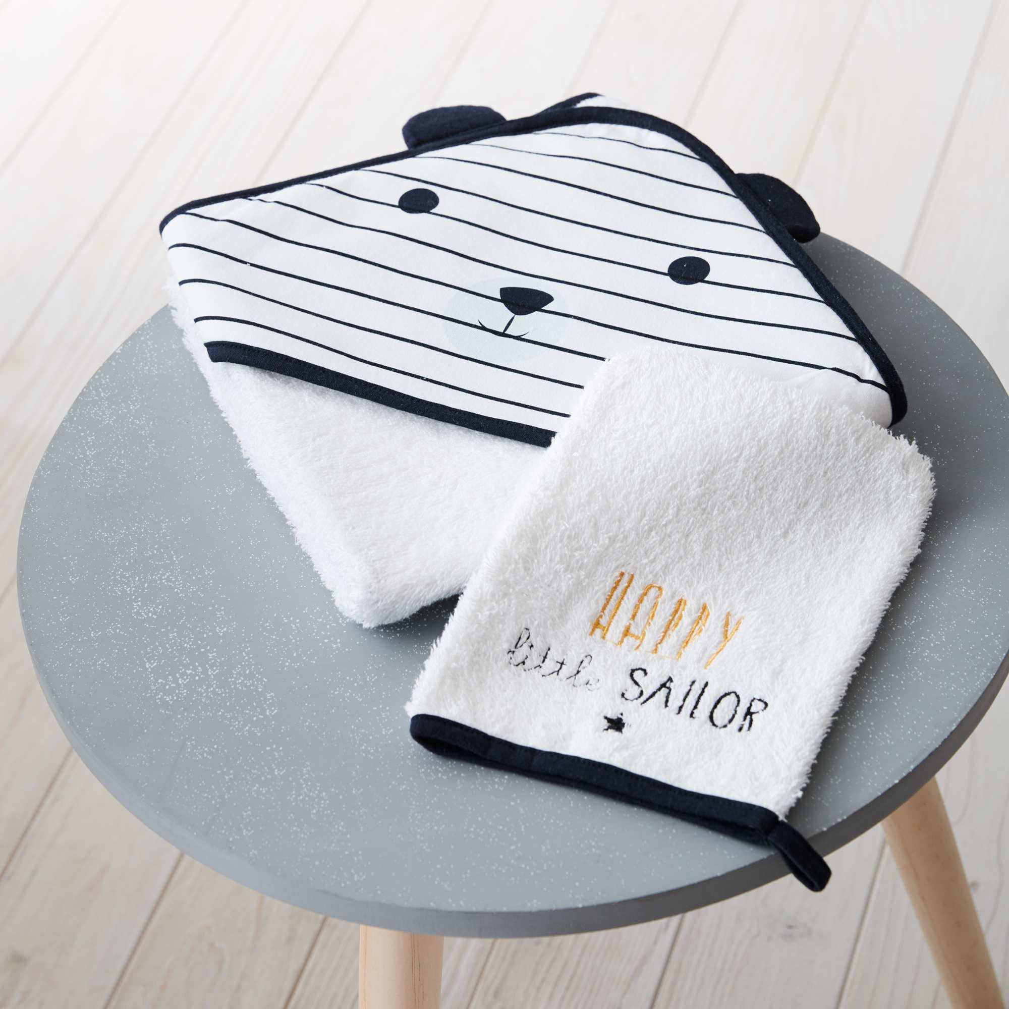 ensemble cape de bain et gant assorti 39 panda 39 b b gar on blanc kiabi 12 00. Black Bedroom Furniture Sets. Home Design Ideas