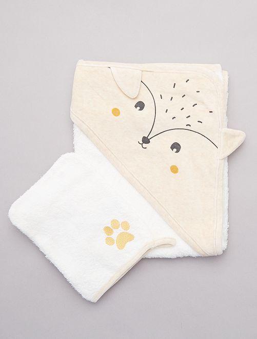 Ensemble cape de bain et gant                     beige