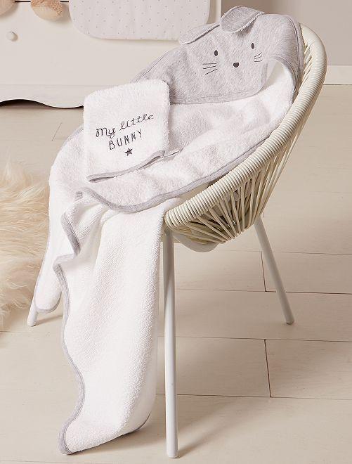 ensemble cape de bain et gant 39 lapin 39 b b fille gris. Black Bedroom Furniture Sets. Home Design Ideas
