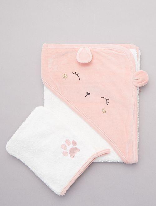 Ensemble cape de bain et gant                                             rose