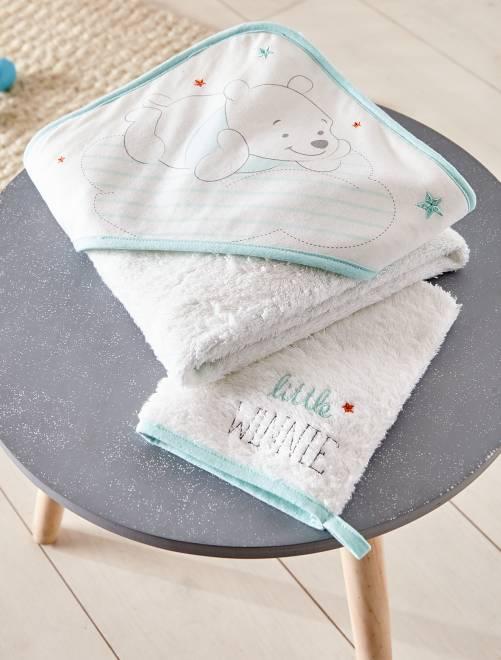 ensemble cape de bain gant assorti b b fille blanc. Black Bedroom Furniture Sets. Home Design Ideas