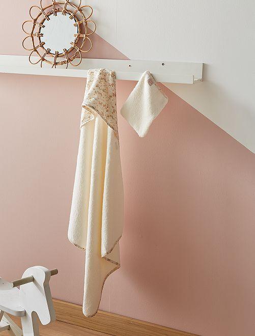Ensemble cape de bain + gant de toilette                             imprimé fleurs