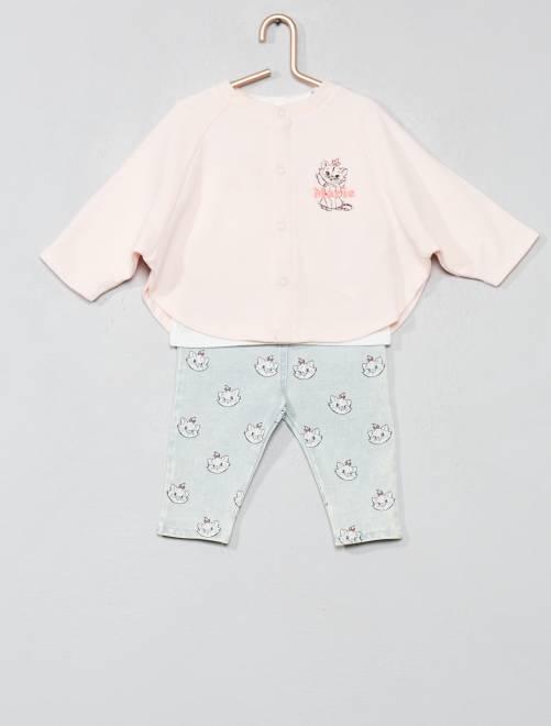 Ensemble cape + t-shirt + pantalon 'Marie'                             rose Bébé fille