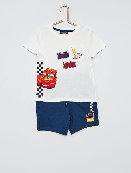 Ensemble 'Cars' T-shirt + short                                         blanc/marine