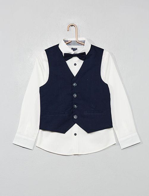 Ensemble chemise + gilet + nœud                             blanc/bleu