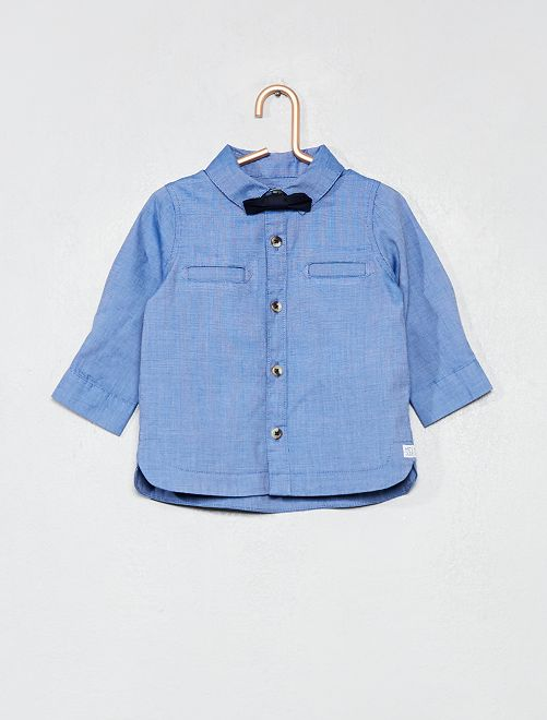 Ensemble chemise + nœud papillon amovible                             bleu