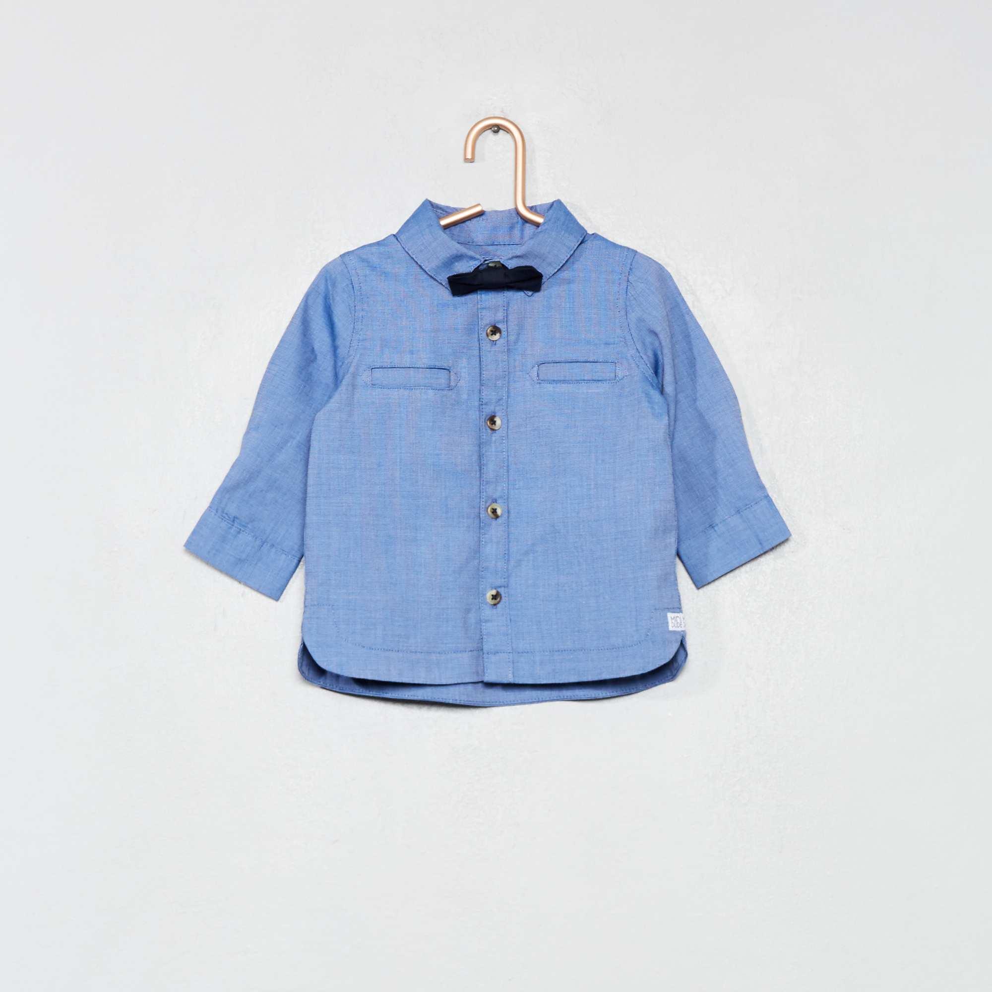 ebbf23a9479f5 Ensemble chemise + nœud papillon amovible bleu Bébé garçon. Loading zoom.  Cliquez sur l'image pour l'agrandir. zoom. Enregistrer ...