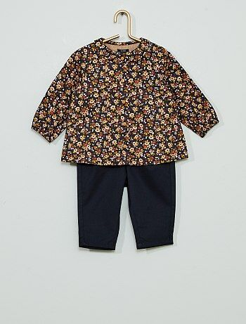 Ensemble chemise +pantalon en twill