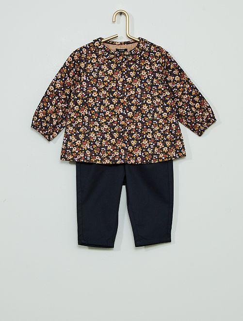 Ensemble chemise +pantalon en twill                             bleu