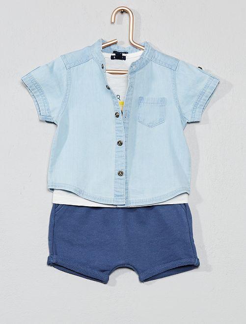 Ensemble chemise + t-shirt + bermuda                             bleu Bébé garçon