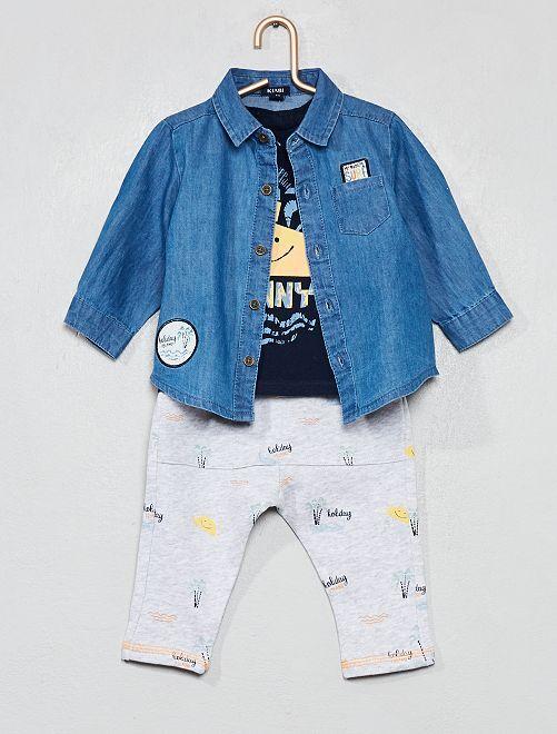 Ensemble chemise + t-shirt + pantalon                             bleu