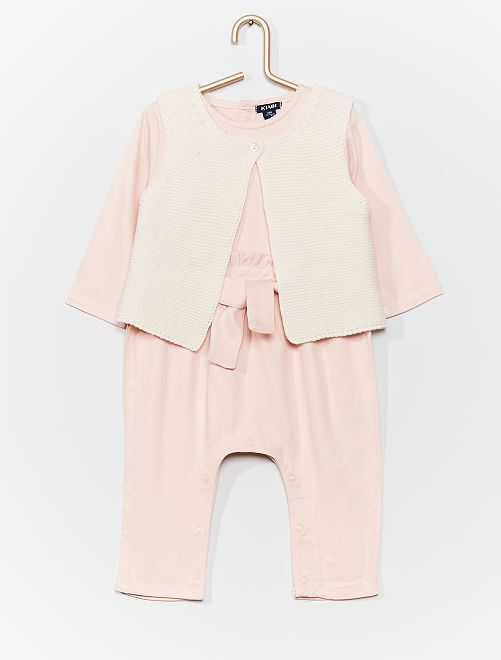 Ensemble combinaison + gilet                                         rose
