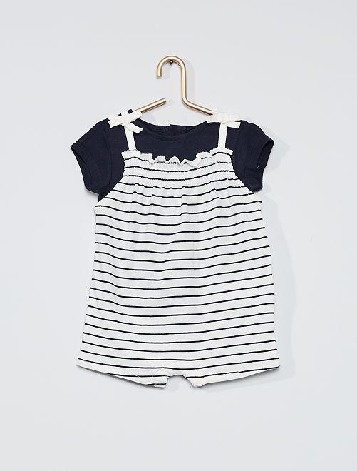 Ensemble combishort + t-shirt                                         bleu marine/blanc