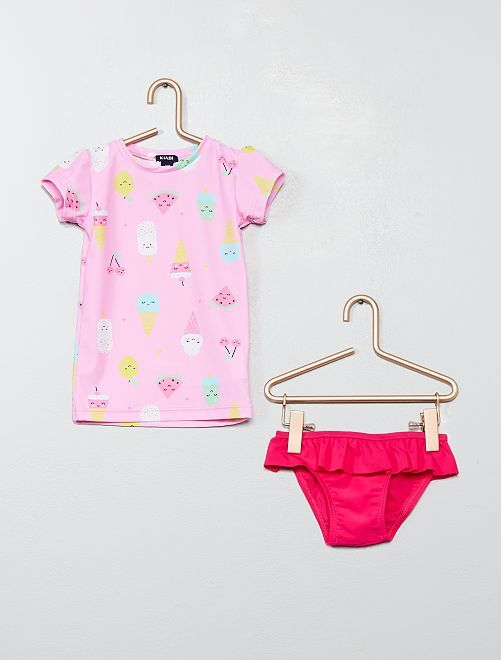 Ensemble de bain t-shirt + culotte                             rose Bébé fille