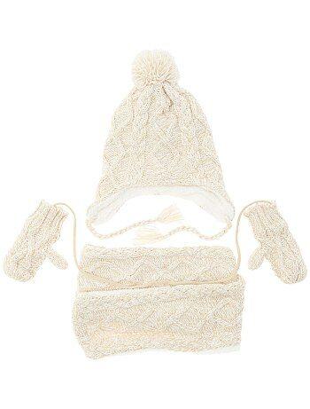 Ensemble écharpe + bonnet + moufles - Kiabi