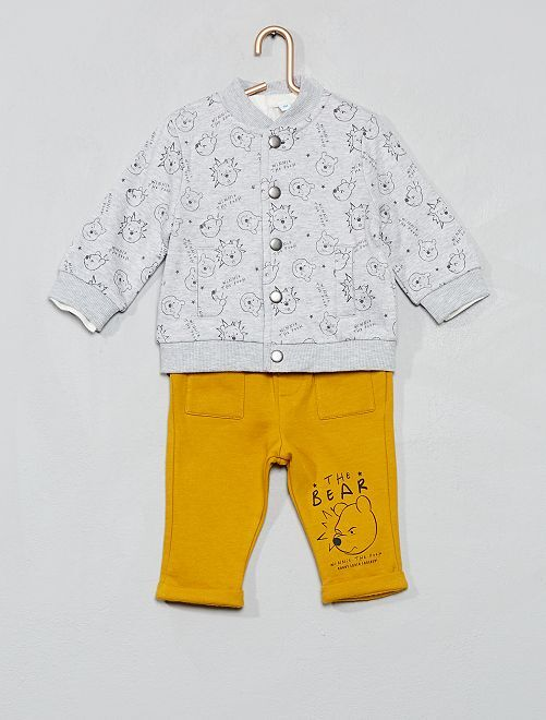 Ensemble en pur coton 'Winnie l'Ourson'                             gris/jaune