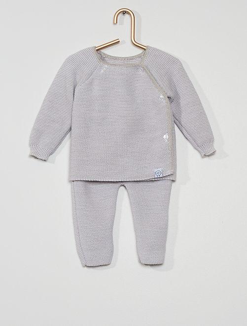 Ensemble en tricot 'La Manufacture de Layette'                     gris