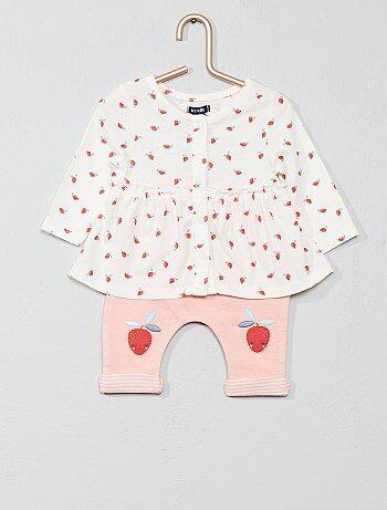 d0e7b2801e386 Fille 0-36 mois - Ensemble  fraise  coton bio - Kiabi