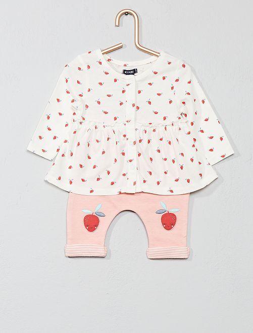 Ensemble 'fraise' coton bio                             écru/rose Bébé fille