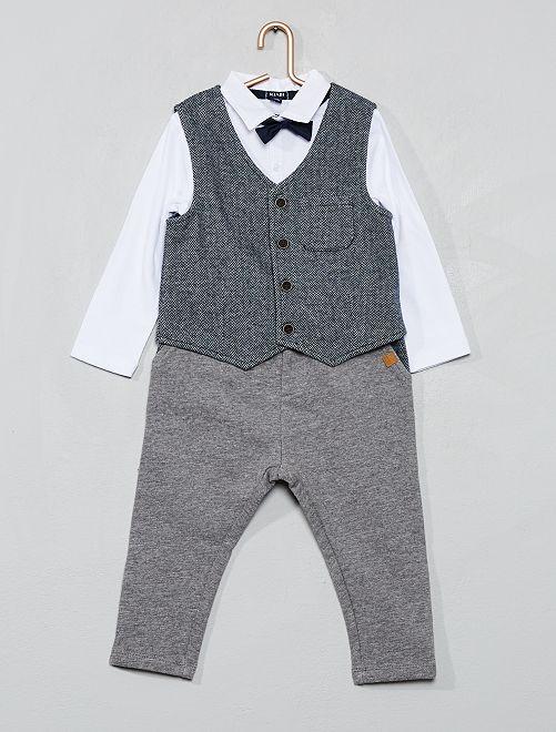 Ensemble gilet + body + pantalon                             gris