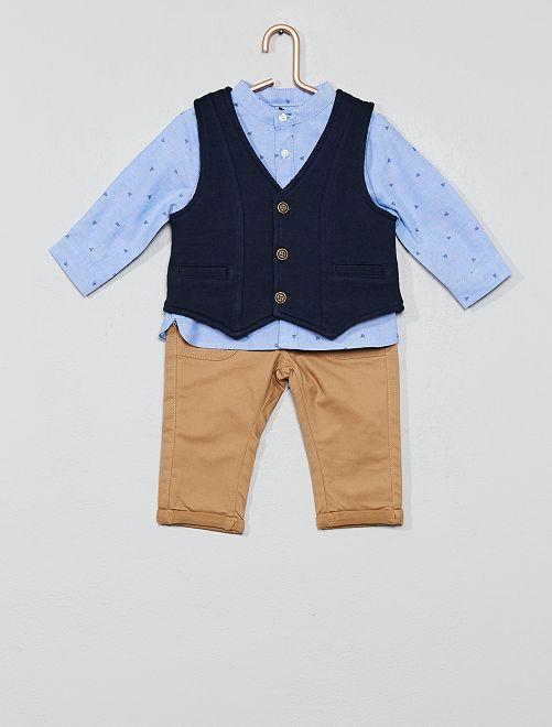 Ensemble gilet + chemise + pantalon                             beige/bleu Bébé garçon