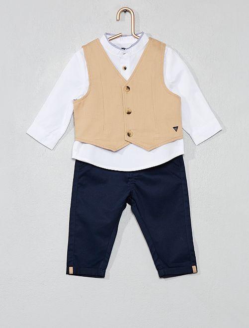 Ensemble gilet + chemise + pantalon                                         beige/marine Bébé garçon