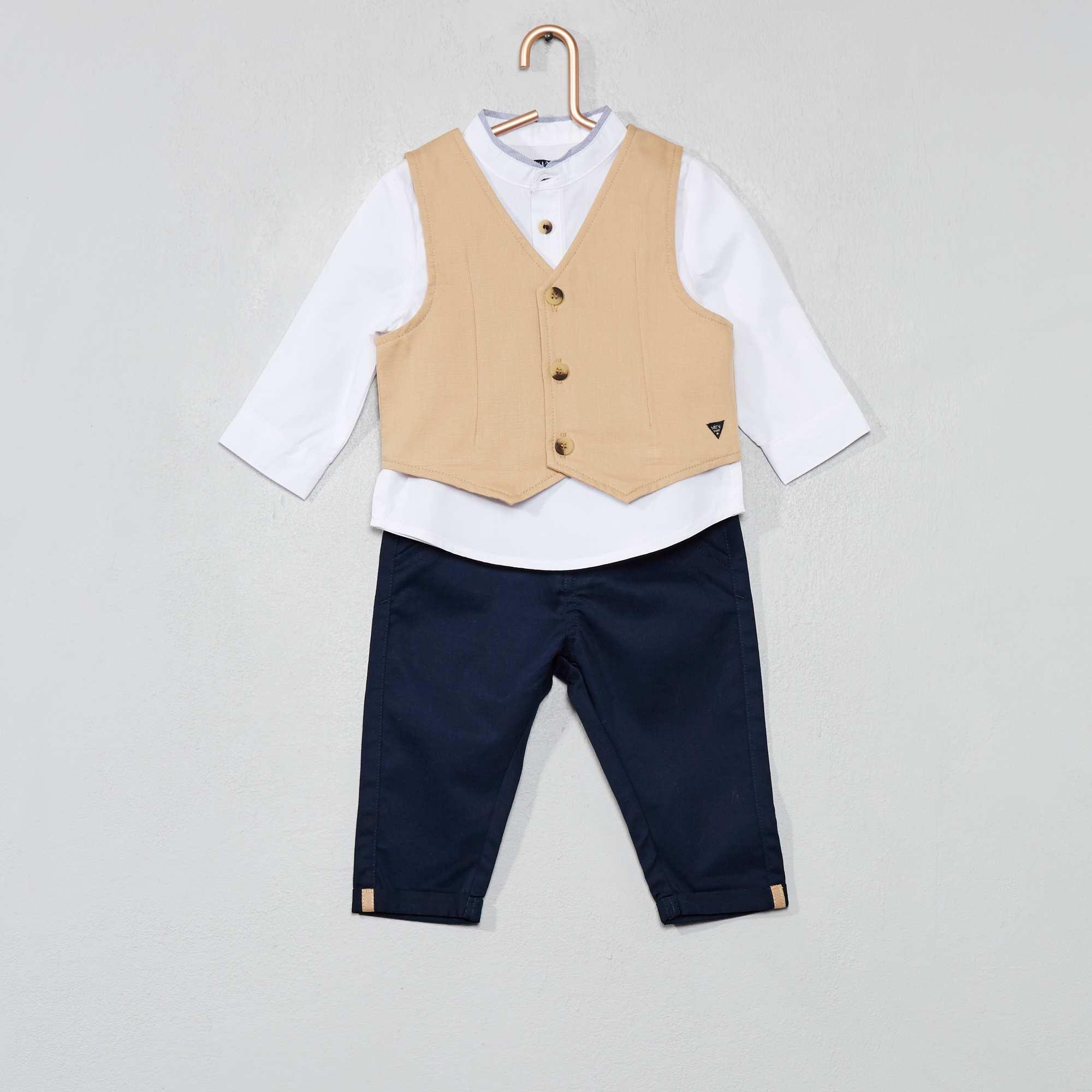 a499f9c44c005 Ensemble gilet + chemise + pantalon Bébé garçon - beige marine ...