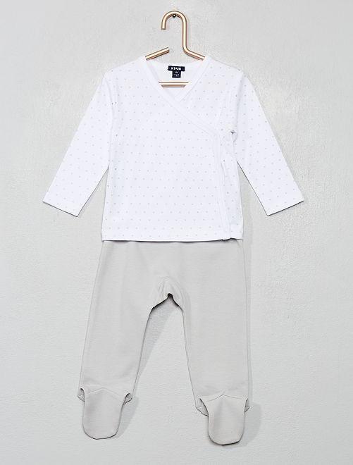 Ensemble gilet + pantalon avec pieds                             blanc/gris