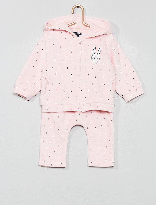 Ensemble gilet + pantalon 'lapin'                                         rose Bébé fille