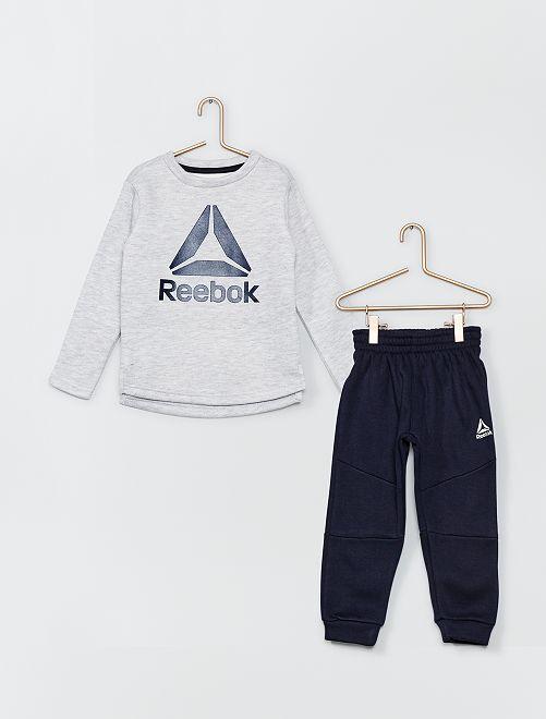 Ensemble jogging 'Reebok'                             gris clair chiné/bleu marine