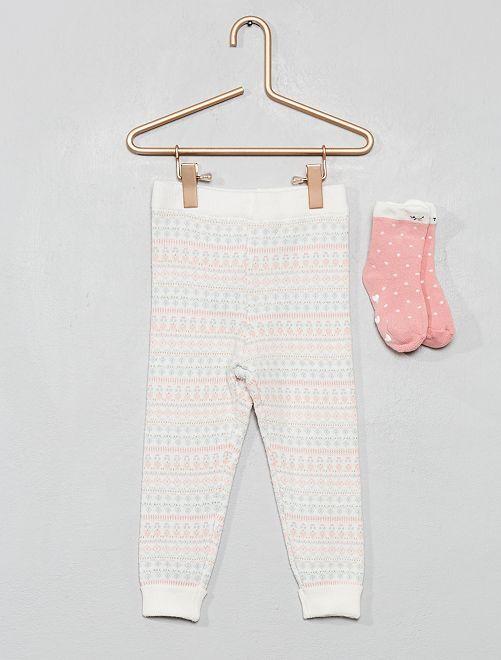 Ensemble legging + chaussettes en maille                                                     écru
