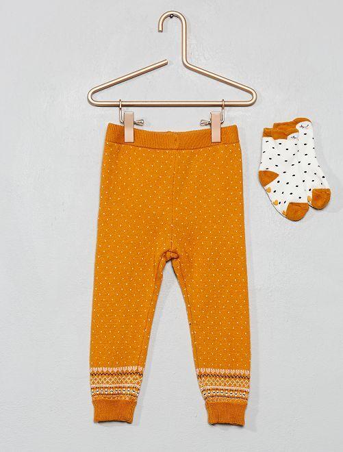 Ensemble legging + chaussettes en maille                                                     moutarde