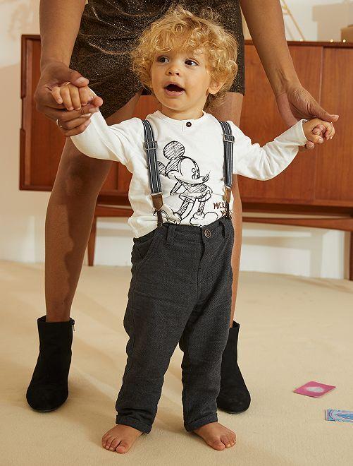 Ensemble pantalon à bretelles + T-shirt 'Mickey'                             écru/gris