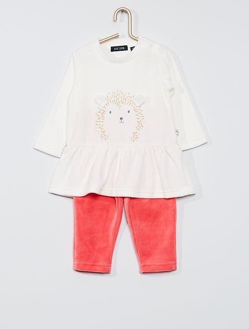 Ensemble pantalon + haut en velours                             ecru/rose