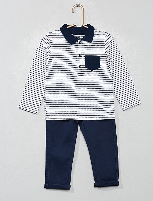 Ensemble polo + pantalon chino                             blanc/marine