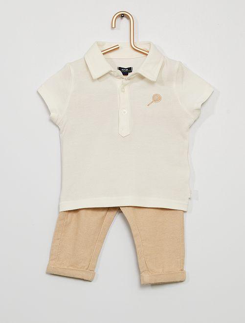 Ensemble polo + pantalon éco-conçu                             blanc/beige
